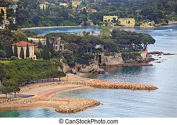 Summer view of French riviera coastline, Cote d'Azur