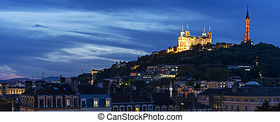 Lyon and basilique de fourviere by night - View of Lyon and ...