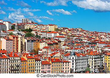 view of Lyon city with blue sky, France