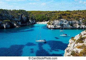 view of Macarelleta beach in Menorca, Balearic Islands, ...