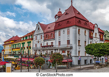 view of main square in Mariazell, Austria