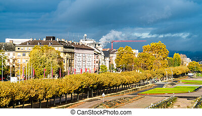 View of Mainz from the Rhine river in Germany