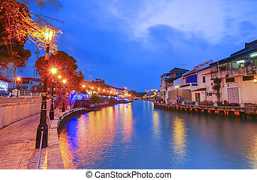 View of Malacca Riverside during blue hour.