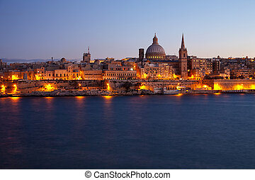 Old Valletta in dusk - View of Malta. Old Valletta in dusk