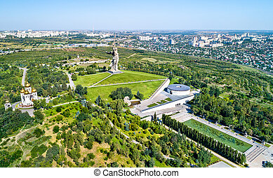 View of Mamayev Kurgan, a hill with a memorial complex...