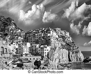 View of Manarola, Cinque Terre. Small town in the province of La Spezia, Liguria, Italy
