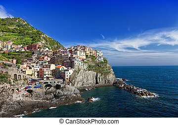 View of Manarola. Manarola is a small town in the province of La Spezia, Liguria,  Italy.