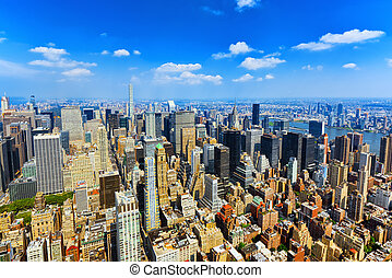 View of Manhattan from the skyscraper's observation deck....