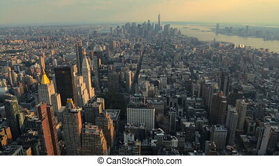 View of Manhattan from the top angle at sunset