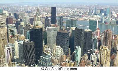 High angle view of Manhattan, New York City, United States of America.