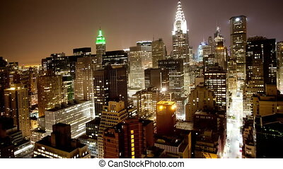 view of manhattan skyline from a high vantage point, nyc,...