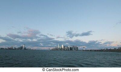 View of Manhattan skyline from Staten Island ferry