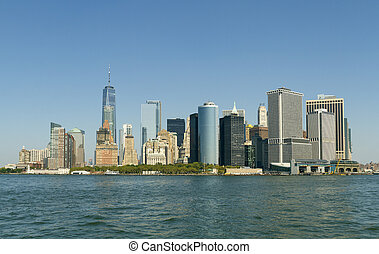 View of Manhattan skyscrapers from the sea side