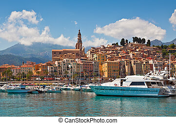 View of marina and old part of Menton, France.