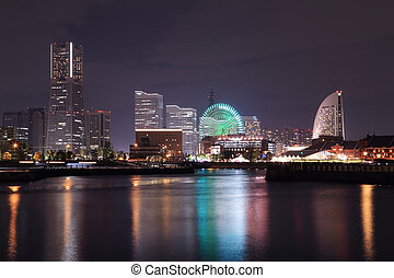 View of marina bay at night in Yokohama City - View of...