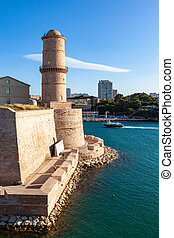 view of Marseille pier, Fort Saint Jean castle in south of ...