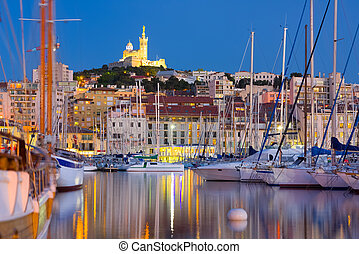 Marseille port at a summer night