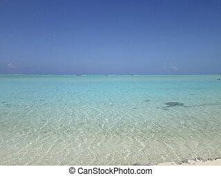 View of Matira Beach, Bora Bora, French Polynesia.
