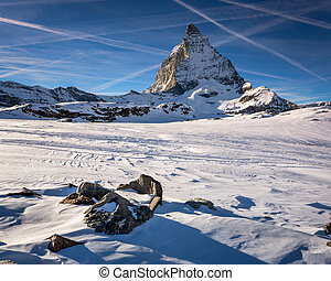 View of Matterhorn on a clear sunny day from the ski slope, Zerm