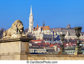 View of Matthias Church and Fisherman's Bastion in Budapest...