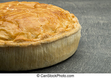 View of Meat Pie from an Angle with Copy Space