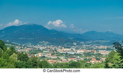 View of medieval Bergamo timelapse - beautiful medieval town...