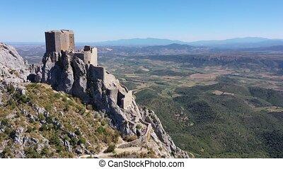 View of medieval Chateau de Queribus castle. Aude department...