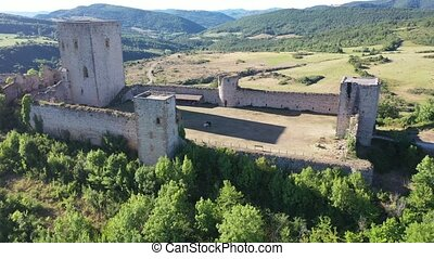 Panoramic view of castle Puivert. Languedoc-Roussillon region. France
