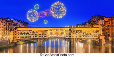 View of medieval stone bridge Ponte Vecchio and the Arno River, Florence