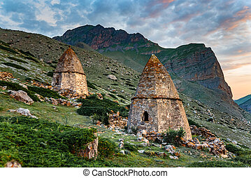 View of medieval tombs in City of Dead near Eltyulbyu, Russia