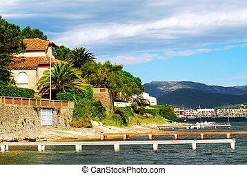 View of Mediterranean coast of French Riviera
