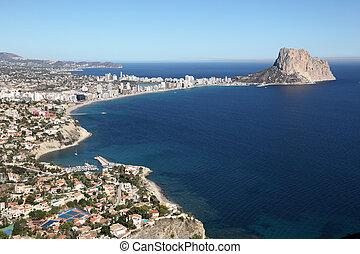 View of Mediterranean resort Calpe, Costa-Blanca Spain