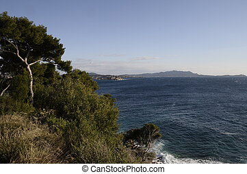 View of Mediterranean sea and coast with bendor island in Bandol on french riviera