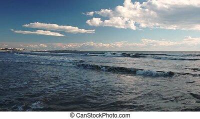 View of Mediterranean Sea from beach in Turkey