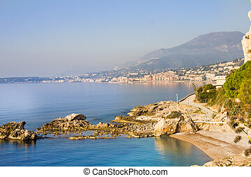 View of Menton (France) from a beach in Ventimiglia (Italy)
