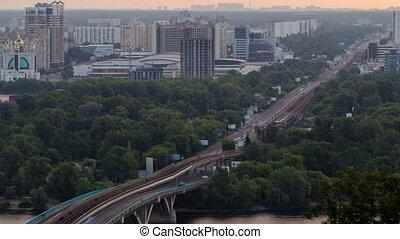 View of Metro bridge over Dnieper timelapse, Kiev, Ukraine