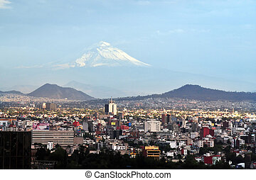 View of Mexico City and Volcano Mountain - A view of...