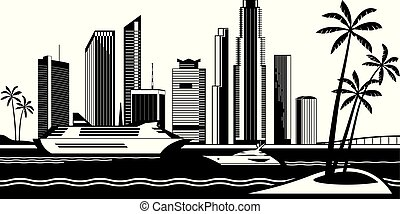 View of Miami from the sea