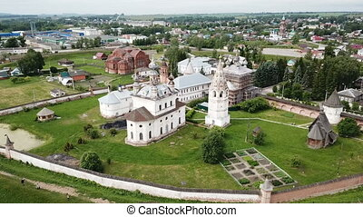 View of Michael-Archangel Monastery in old Russian town of ...