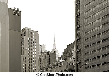 View of midtown Manhattan with the Empire State Building in the center, New York City