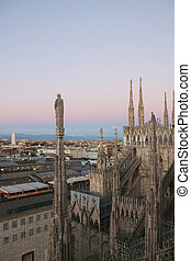 View of Milan from Duomo in the evening. v.4.