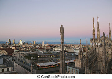 View of Milan from Duomo in the evening. v.5.