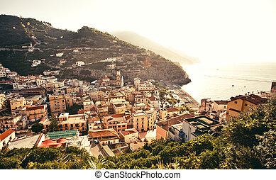 Panoramic view of small cozy town Minori, Italy