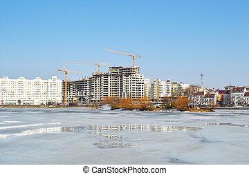 View of Minsk in early spring, Belarus