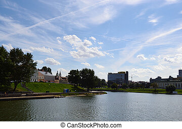 View of Minsk on a sunny summer day