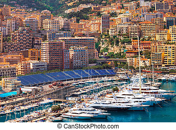 View of Monaco harbour during formula 1 championship, Cote...
