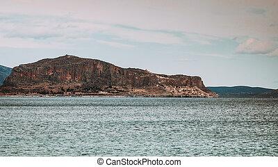 View of Monemvasia island in Greece