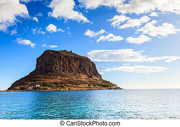 View of Monemvasia island in Greece