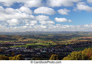 view of monmouth and usk valley - aerial view of monmouth