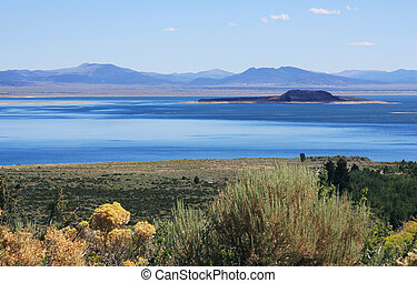 View of Mono Lake from the visitor center deck.